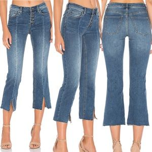 FP Cropped Front Button Straight Leg Jeans
